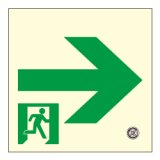 【壁用】高輝度蓄光式 避難通路誘導標識(右矢印) HLS-14 正方形(小)