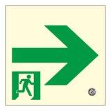 【壁用】高輝度蓄光式 避難通路誘導標識(右矢印) HLS-17 正方形(中)