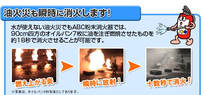 油火災も瞬時に消火します!ABC粉末消火器では、90cm四方のオイルパン7枚に油を注ぎ燃焼させたものでも約18秒で消火させることが可能です。
