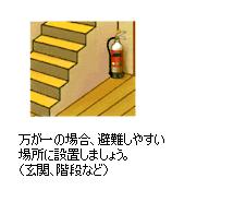 万が一の場合、避難し易い場所に設置しましょう。(玄関、階段など)